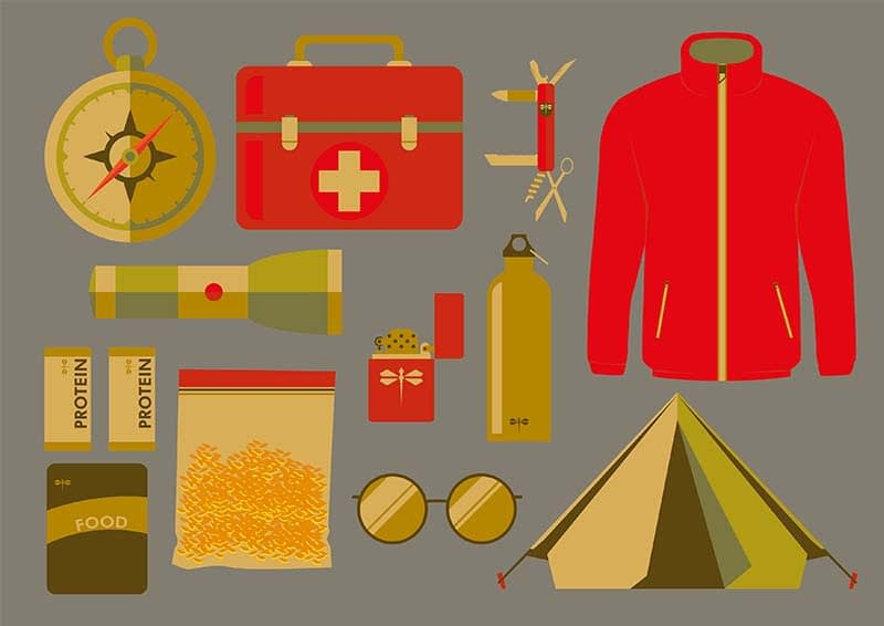 An illustration representing 10 essentials when going on a hike