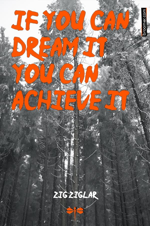 "Inspirational quote by Zig Ziglar: ""If you can dream it, you can achieve it."""