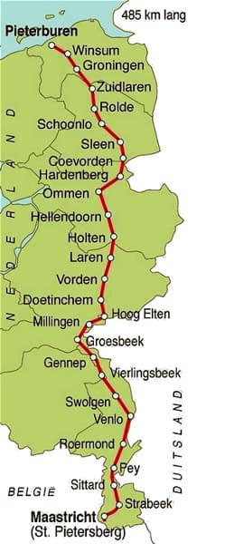 The Pieterpad hiking trail start to finish.