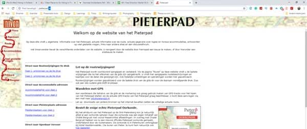 Printscreen of the Pieterpad website, everything you need to know when hiking the Pieterpad. Note: it is only available in Dutch