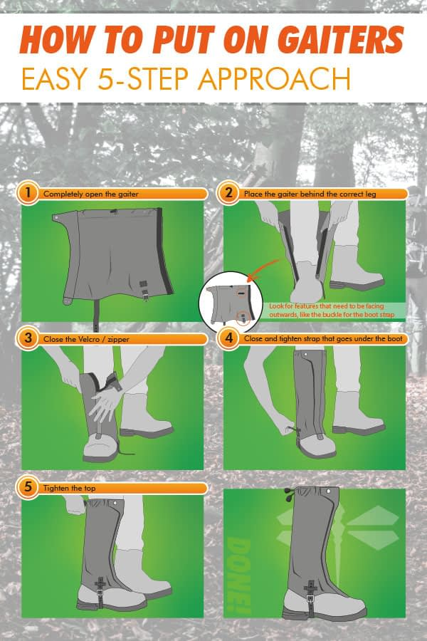 Illustration how to put on gaiters easy 5 steps 2019 edition